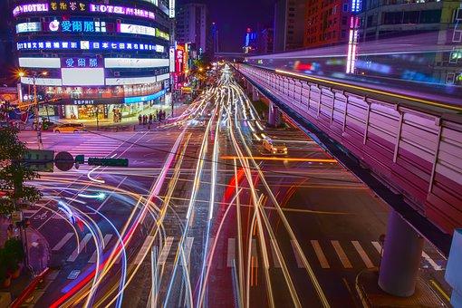 Taipei Taiwan, Street Head, Urban Landscape, Light Rail