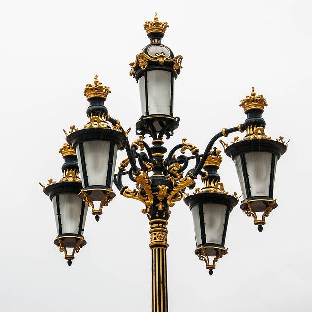 Lantern, Madrid, Lamp, Golden, Street Lamp