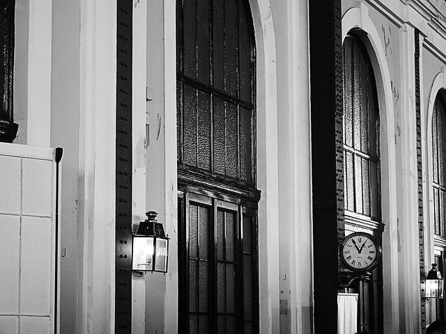 Train Station, Clock, Street Lamp, Black And White