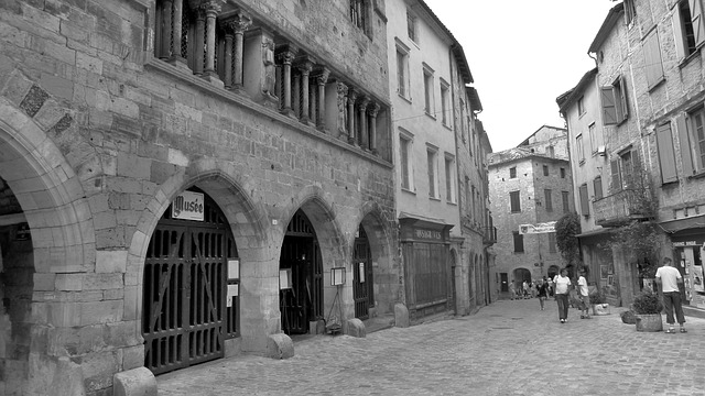 Street, Arcade, Village, Middle Age, Black And White