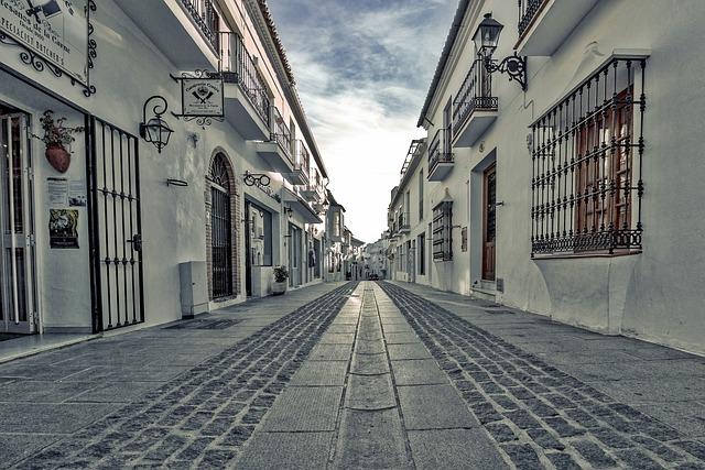 Street, Panorama, Mijas, Andalusia, Spain