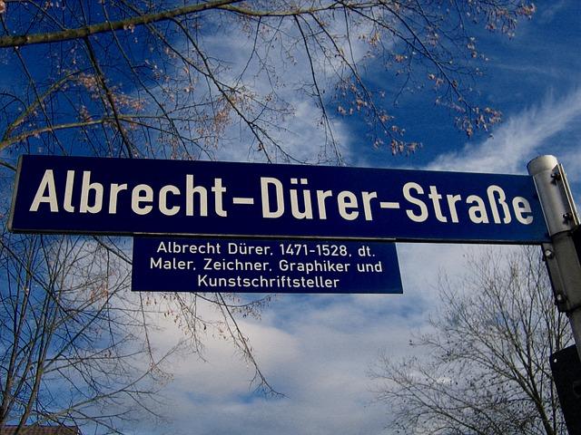 Street Name, Street Sign, Shield, Road, Albrecht Dürer