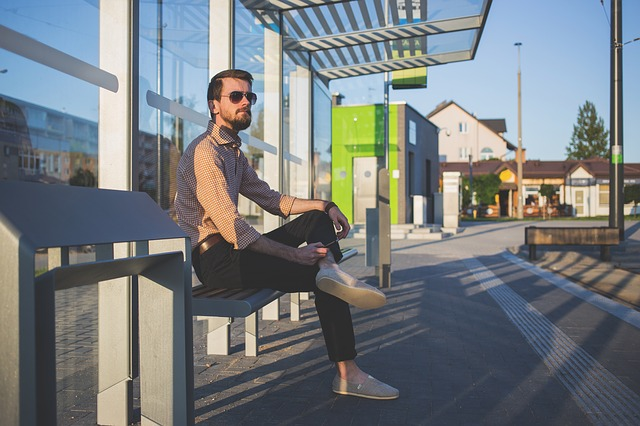 Bench, Man, Person, Sitting, Street, Waiting Shed