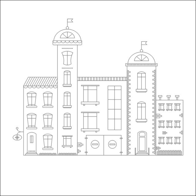City, Vector, Drawing, Structure, Street, Window