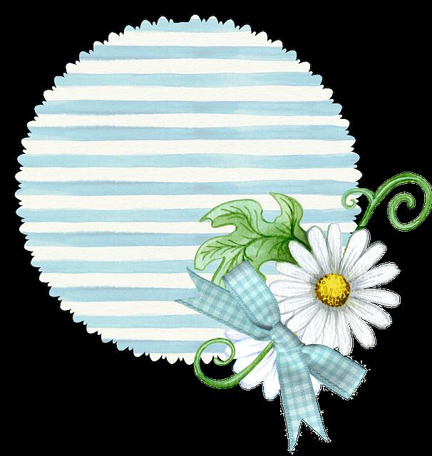 Floral, Blue, Tag, Soft, Pastel, Stripe, Scrapbook