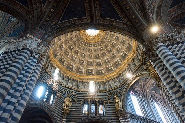 Dom, Siena, Marble, Geometric, Striped, Black, White