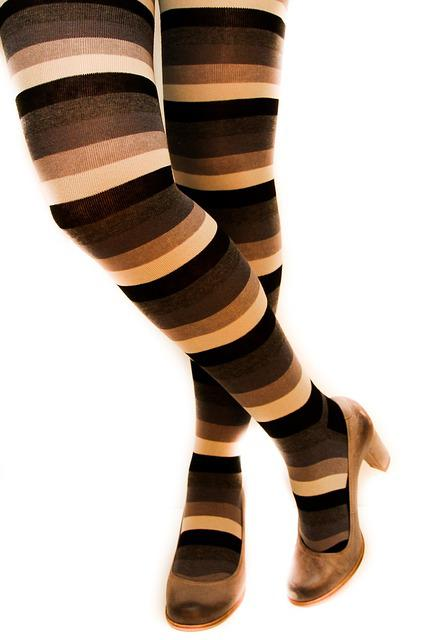 Stripped Leggings, Long Socks, Ladies Shoes