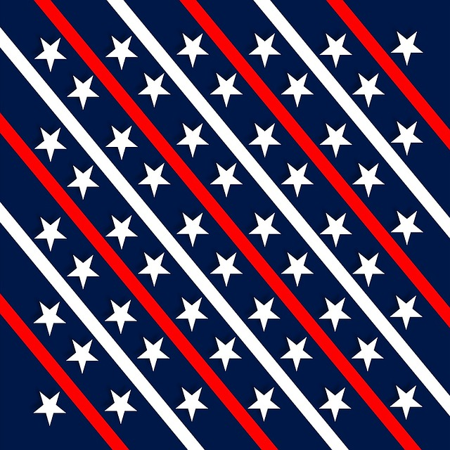 Patriotic, Red, White, Blue, Stars, Diagonal, Strips