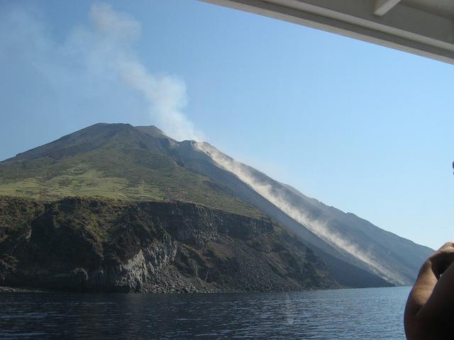 Sicily, Stromboli, Volcano, Erupts, Sea, Island, Sky
