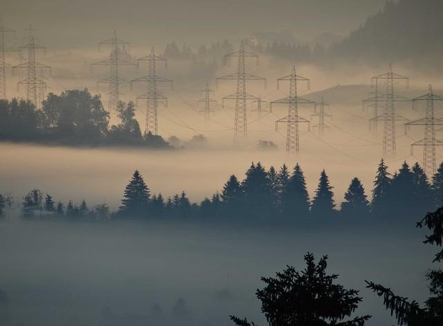 Fog, Power Line, Pylon, Fog überlandleitung, Strommast