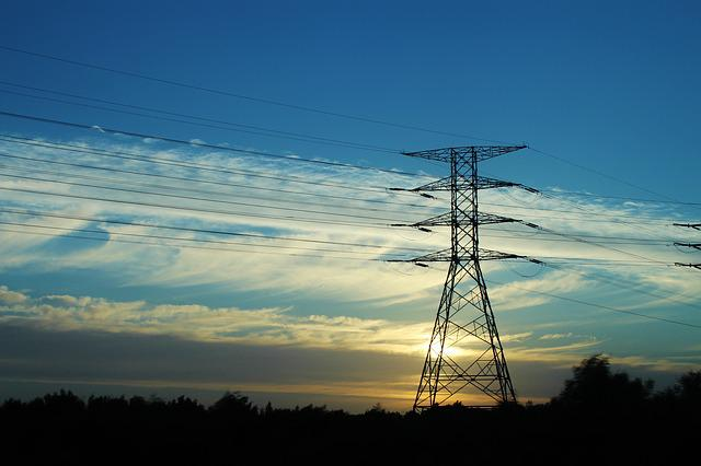 Strommast, Sunset, Electricity Pylon, Atmospheric