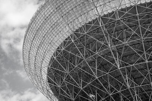 Radio Telescope, Effelsberg, Black And White, Structure