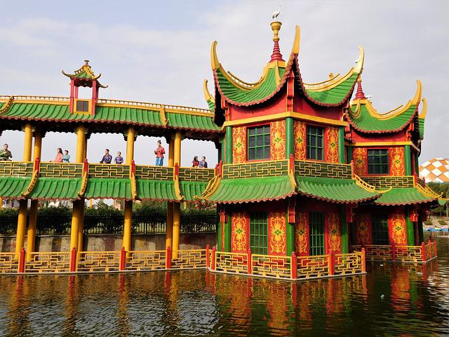 Water Park, Chinese Style Building, Structure, Building