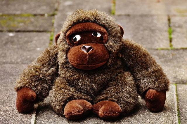 Monkey, Gorilla, Toys, Stuffed Animal, Soft Toy, Cute