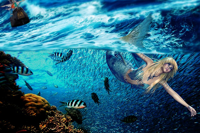 Siren, Sea, Fantasy, Women, Ocean, Swim, Submarine