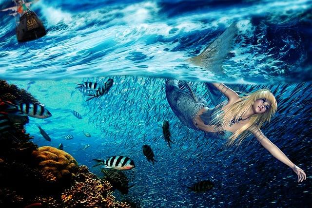 Siren, Sea, Fantasy, Women, Ocean, Swim, Submarine