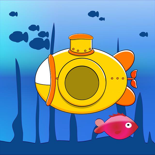 Submarine, Yellow, Sea, Ocean, Nature, Water, Fish