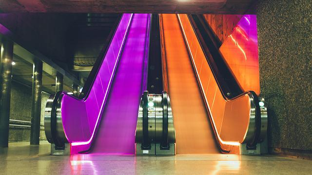 Escalator, Staircase, Metro, Subway, Lights, Neon, Oslo