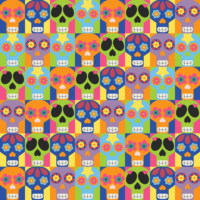 Day Of The Dead Paper, Sugar Skull, Mexican Blanket
