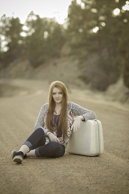 Redhead, Suitcase, Road, Sitting, Travel, Girl, Outdoor