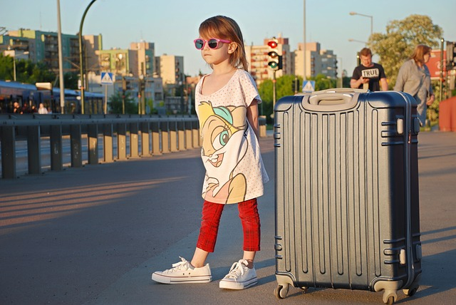 Vacation, Kids, Girl, Suitcase, Taxi, Baby