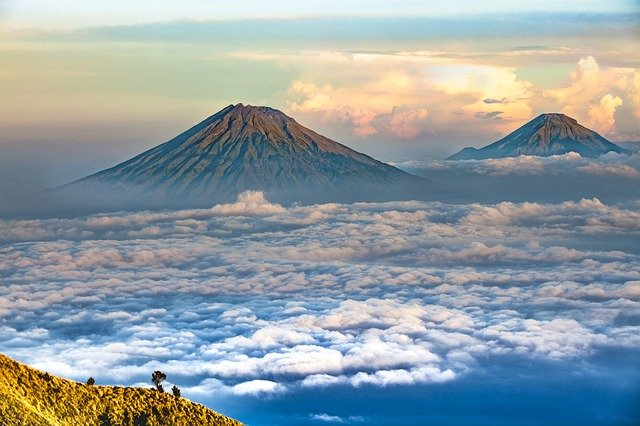Landscape, Volcano, Central Java, Sumbing Mountain