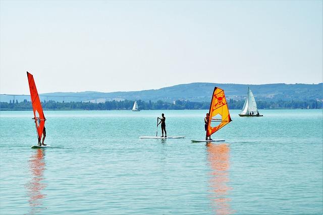 Windsurfing, Water Sport, Sail, Summer, Lake, Balaton