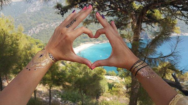 Heart, Love, Exotic, Scenery, Romantic, Beach, Summer