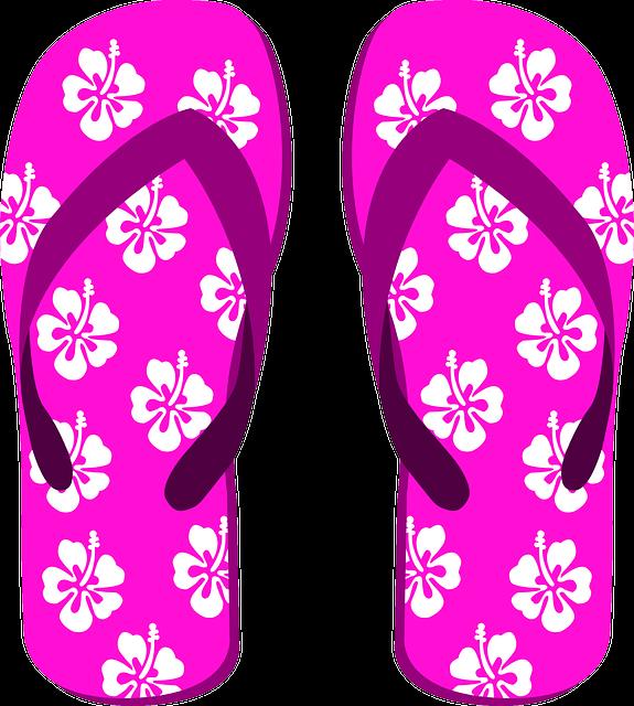 Flip Flops, Slippers, Beach Shoes, Heart, Summer