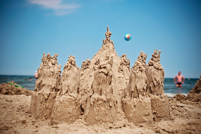 Sand Castle, Beach, Holidays, Water, Sea, Summer