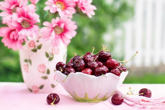 Cherries In A Bowl, Fruit, Summer, Breakfast