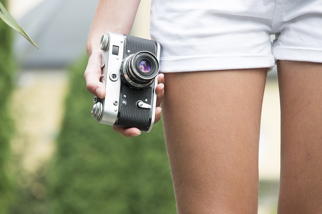 Girl, Camera, Old, Retro, Holds, Travel, Summer, Photo