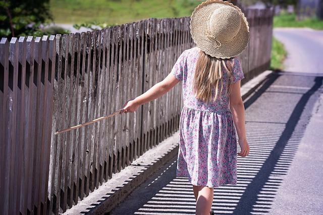 Summer, Dress, Hat, Girl, Child, Fence, Strolling