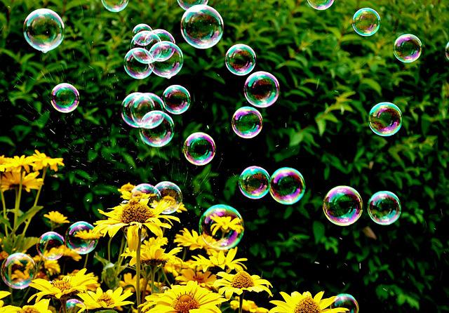 Soap Bubbles, Colorful, Flowers, Summer, Fly