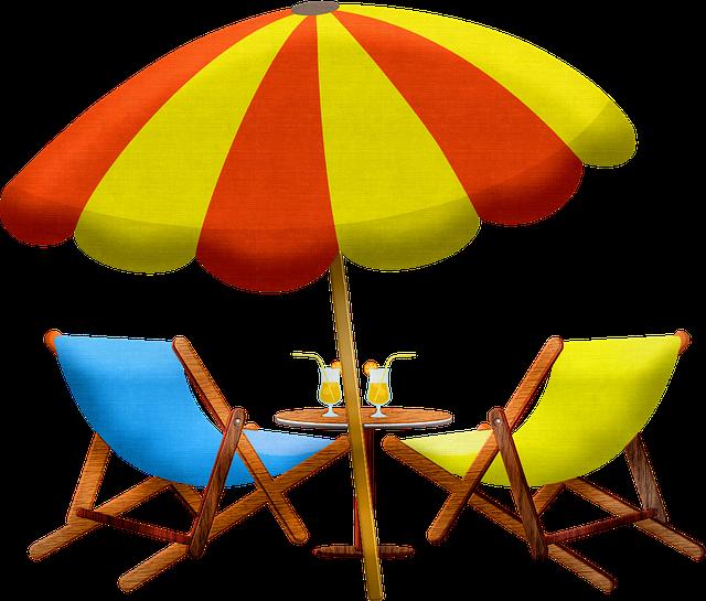 Beach Furniture, Umbrella, Chair, Summer Drink, Patio