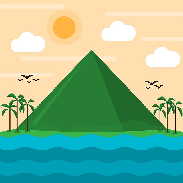 Mountain, Sea, Beach, Nature, Flat, Design, Sun, Summer