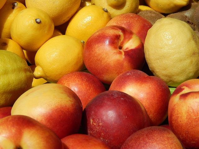 Nectarines, Fruit, Lemons, Red, Summer, Natural, Food