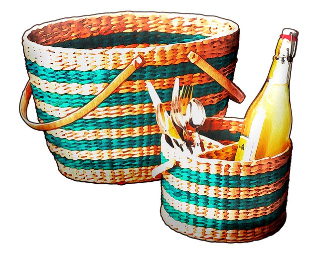 Watercolor Wine, Picnic, Basket, Fruit, Cheese, Summer