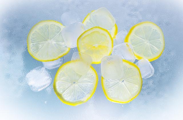 Lemons, Ice, Water, Summer, Erfrischungsgetränk