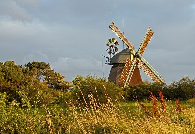 Windmill, Amrum, North Sea, Island, Clouds, Summer