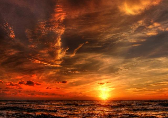 Sun, Denmark, Summer, Sunset, Nature, Landscape, Sea