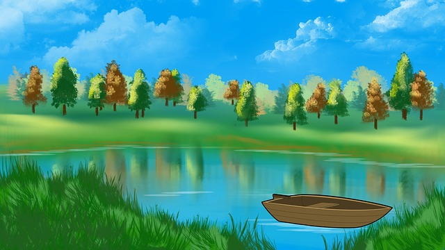 Digital Art, Artwork, Landscape, Boat, Nature, Summer