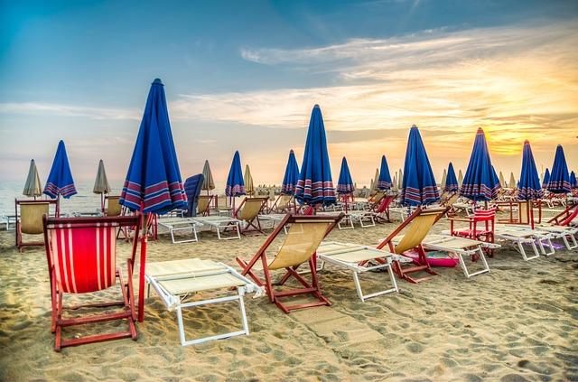 Beach, Sand, Summer, Umbrella, Ocean, Sky, Sea