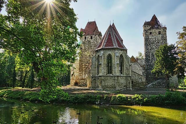 Park, Trees, Chapel, Castle Ruin, Summer, Green, Scenic