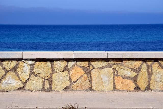 Wall, Sea, Sky, Horizon, Water, Blue, Summer, Holiday