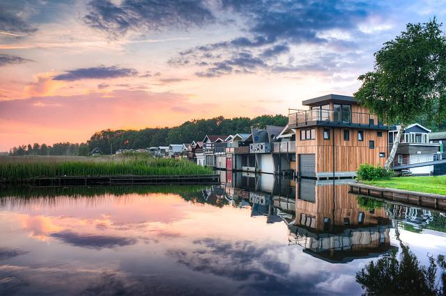 Lake, Houses, Colorful, Evening, Sunset, Warm, Summer
