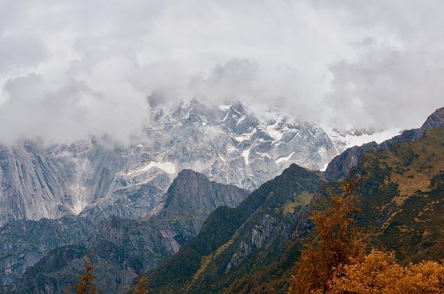 Mountains, Summit, Landscape, Snow, Peak, Fog, Clouds