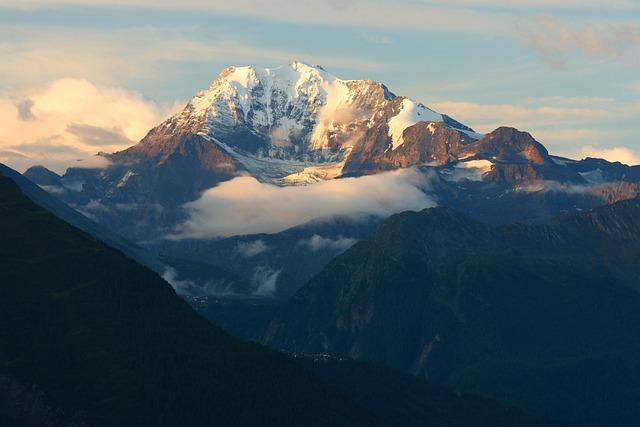 Summit In Morning Light, Alpine, Valais, Morning Sun