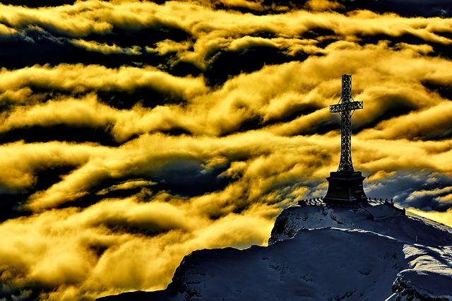 Cross, Mountain Top, Clouds, Sunset, Peak, Summit