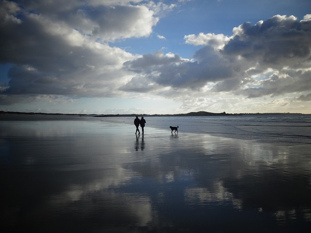 Brittany, Beach, Sea, Sun, Clouds, Mirroring
